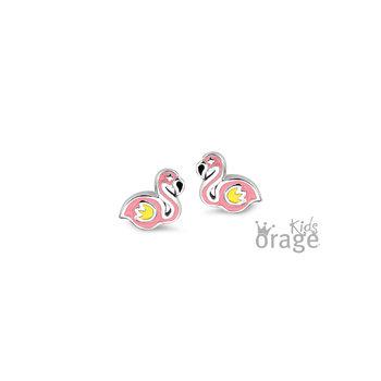 Oorringen kat flamingo roze K1976