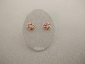 Gouden kinderoorringen 18kt bloem roze