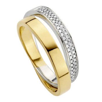 Ring in wit en geel goud Moondrops MD002R19R. Maat 54
