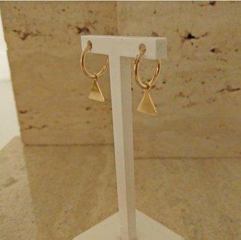 Gouden creolen klein met charm 60141