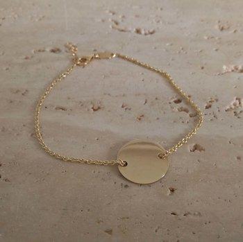 Armband naamplaat rond in geel goud 60362
