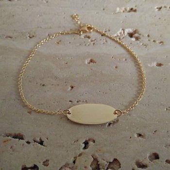 Armband naamplaat ovaal in geel goud 60388