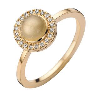 gouden ring met briljant en maansteen juwelier Vanhoutteghem